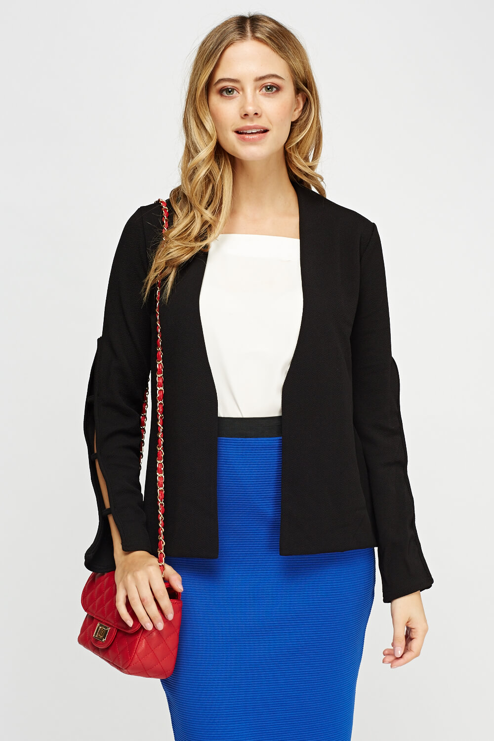 Textured Cut Out Sleeve Blazer