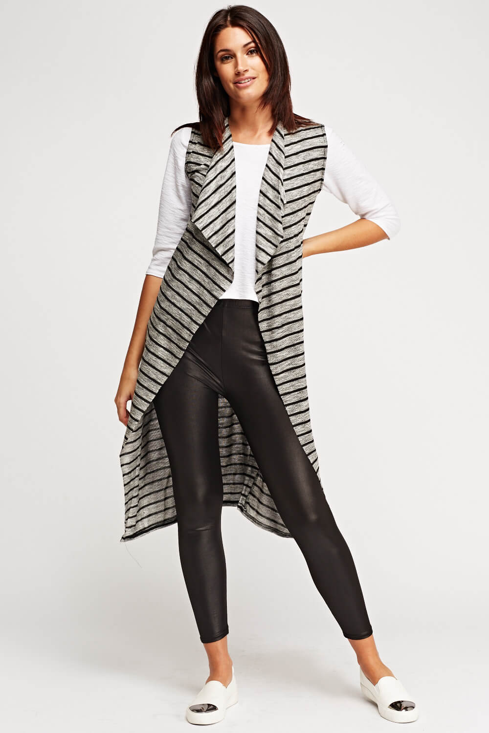 Thin Knitted Striped Longline Cardigan
