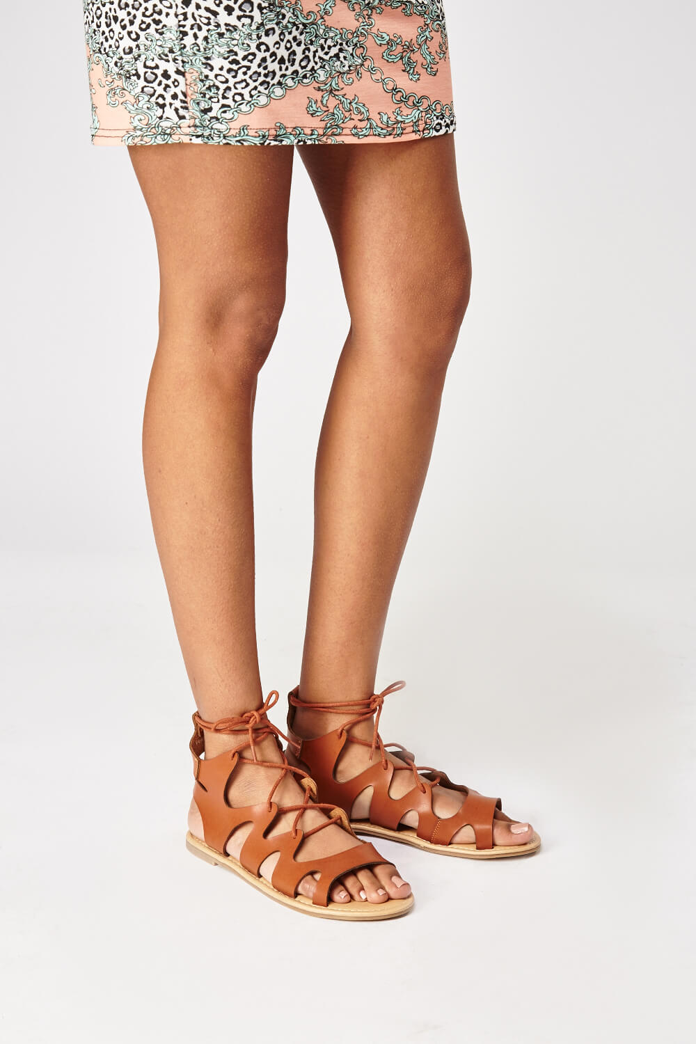 cut out lace up women's sandals tan